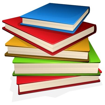 pile papier: pile illustration de livres isol� sur blanc