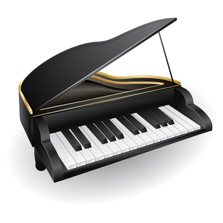 piano: illustration with black piano  musical instrument