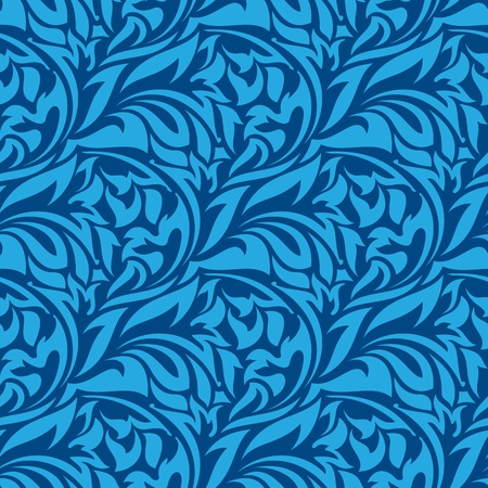 blue damask: Blue seamless wallpaper pattern  Illustration
