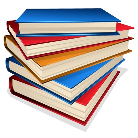 stapel papieren: Vector illustratie stapel boeken op een witte