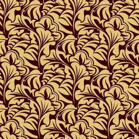 leafs: Brown modello di carta da parati senza soluzione di continuit� Vettoriali