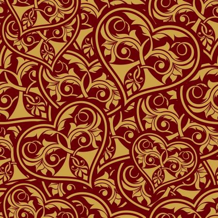 Wedding gold seamless wallpaper pattern with heart Vector