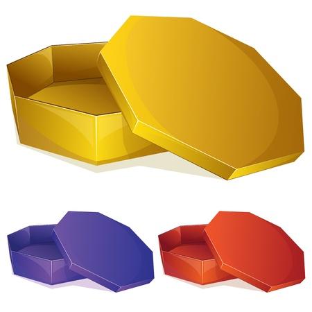 Vector illustration de la boîte vide avec couvercle ouvert Vecteurs