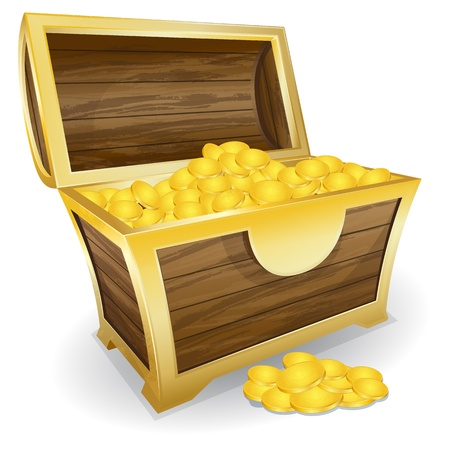 Vector illustration of treasure chest with gold coin Vector