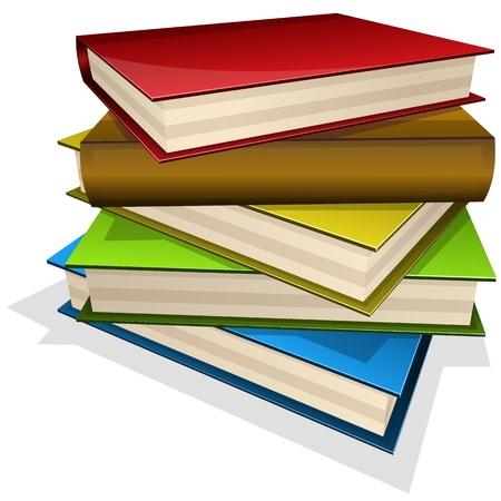 literary: illustration pile of books isolated on white Illustration