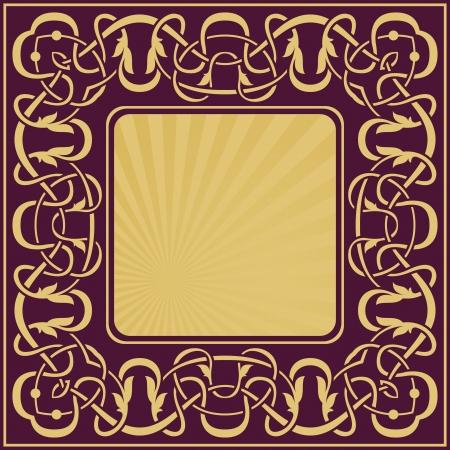 Gold vintage frame with floral ornamental border