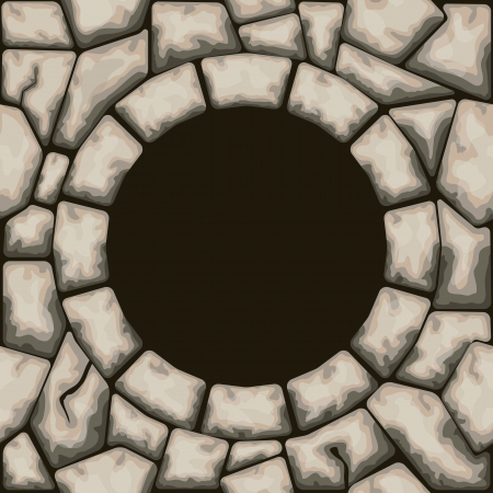 ashlar: Vector illustration of Circle frame with stone seamless pattern