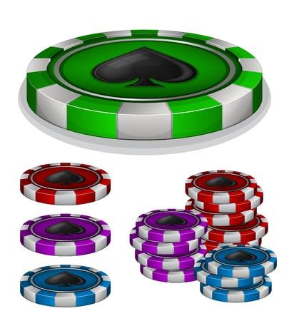 fichas de casino: Ilustraci�n vectorial de fichas de casino con signo espadas