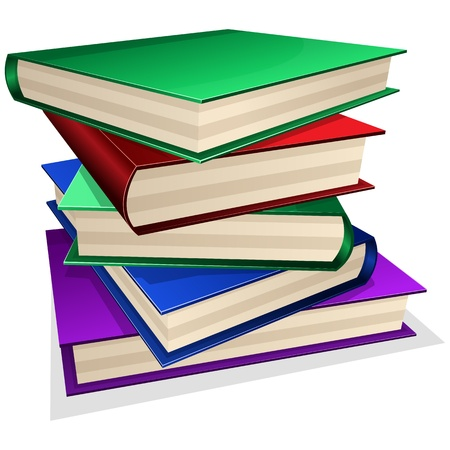 pile of paper: pile of books isolated on white