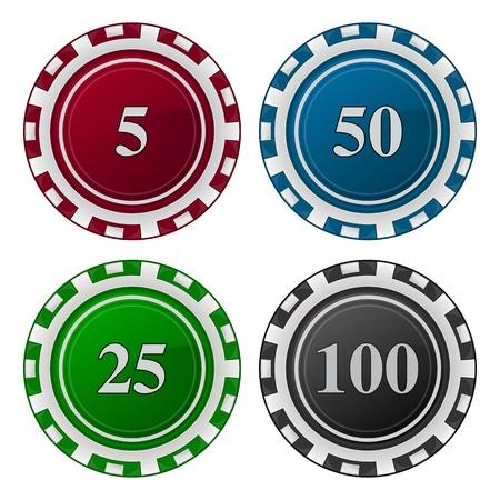fichas casino: ilustración de tarjetas de fichas de póquer con el número Vectores