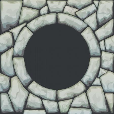 rubble: illustration of frame on grey stone seamless pattern