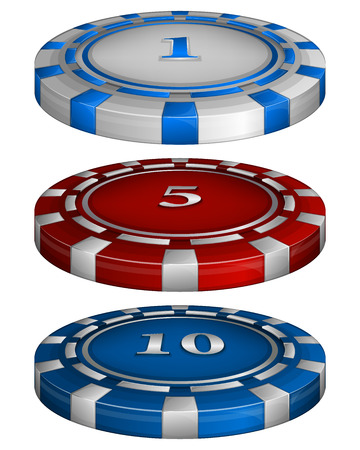 wager: Vector illustration of Casino poker chips with cost 1, 5, 10 Illustration