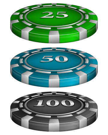 wager: Vector illustration of Casino poker chips with cost 25, 50, 100