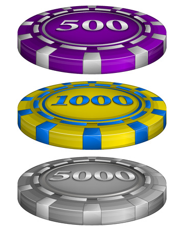 wager: Vector illustration of Casino poker chips with cost 500, 1000, 5000 Illustration