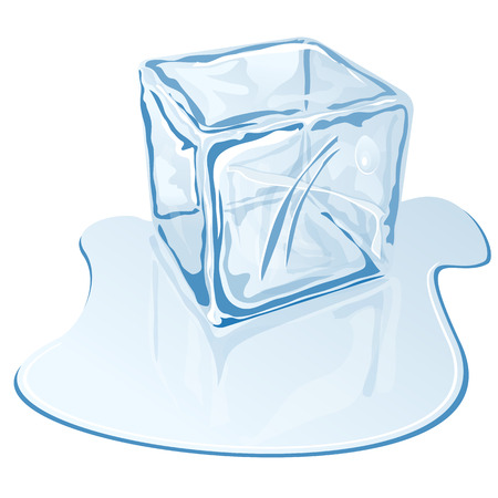 Vector illustration of blue half-melted ice cube