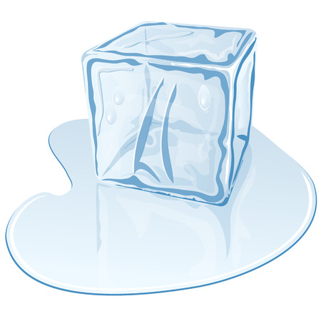 Vector illustration of blue half-melted ice cube Vector