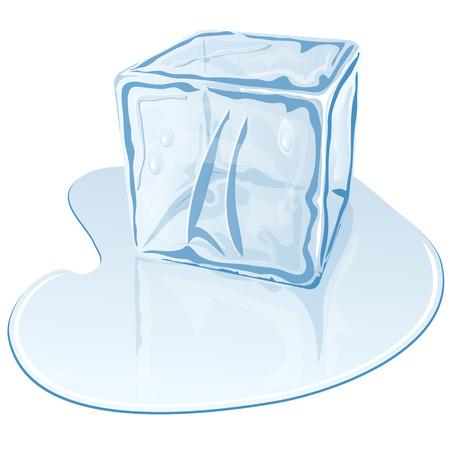 Vector illustratie van blauw-half gesmolten ijsblokje