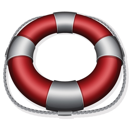 buoy: Vector illustration of marines red life buoy