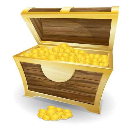 photorealism: Vector illustration of treasure chest with gold coin
