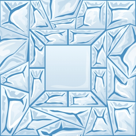 Vector illustration of frame with blue ice seamless pattern Vector