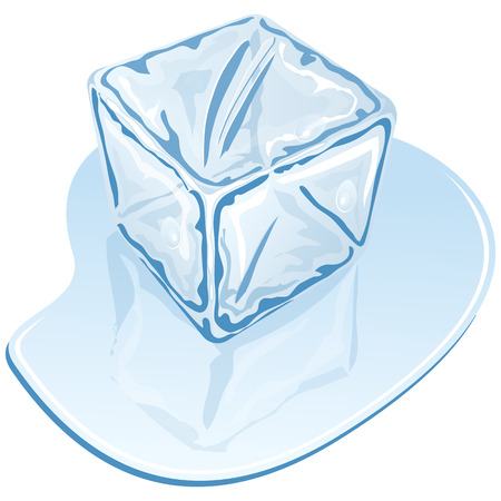 cold drinks: Vector illustration of blue half-melted ice cube