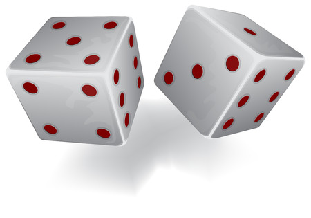 Vector illustration of Two white dices. Transparency used in illustration Vector Illustration