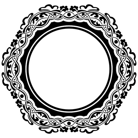 Black frame with ornamental border on white background Vector
