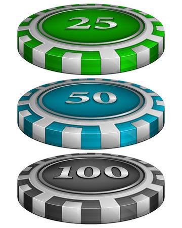 fichas casino: Ilustración del vector de las virutas de póker del casino con un costo de 25, 50, 100 Vectores