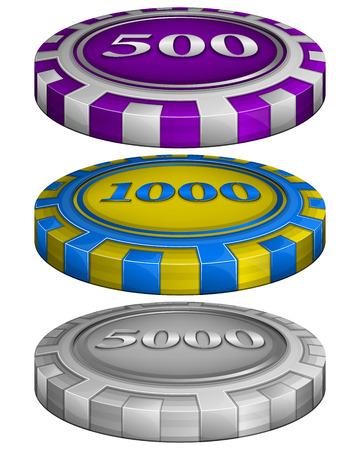 fichas casino: Ilustración vectorial de casino fichas de póquer con un costo de 500, 1000, 5000