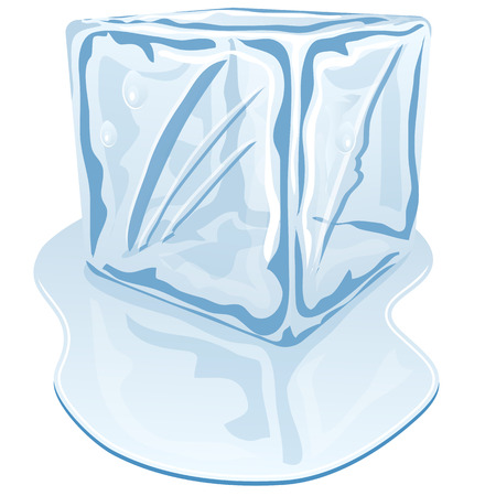 ice cube: Vector illustration of blue half-melted ice cube