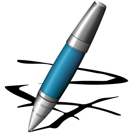 blue pen: Vector illustration of blue pen isolated on white Illustration