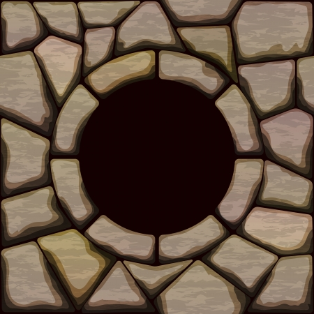 ashlar: illustration of brown stone seamless pattern with frame