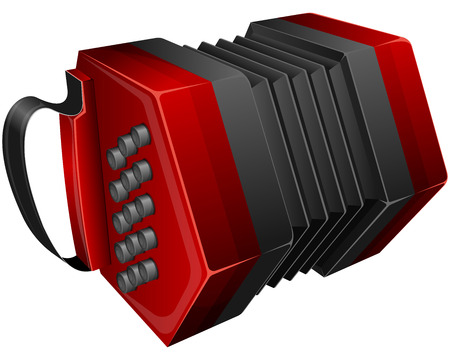 concertina: Vector illustration red concertina isolated on white