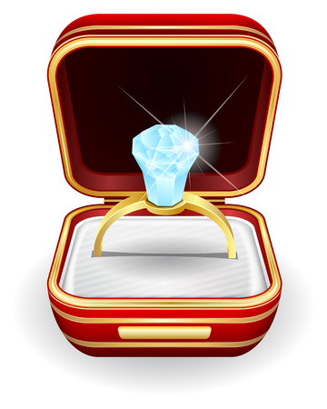 Vector illustration engagement rings in gift box Vector