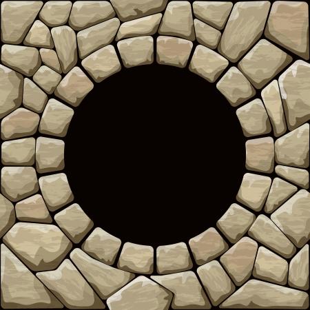 Vector illustratie van bruine steen naadloze patroon met ronde frame Stock Illustratie