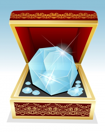 Vector illustration of big brilliant diamond in gift box Vector