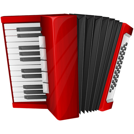 accordion: Vector illustration red accordion isolated on white