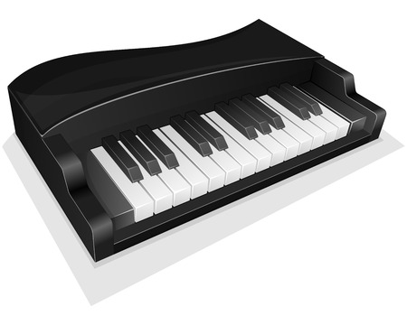 Vector illustration small black piano isolated on white Vector
