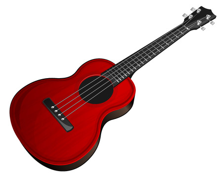 ukulele: Vector illustration red ukulele on white background