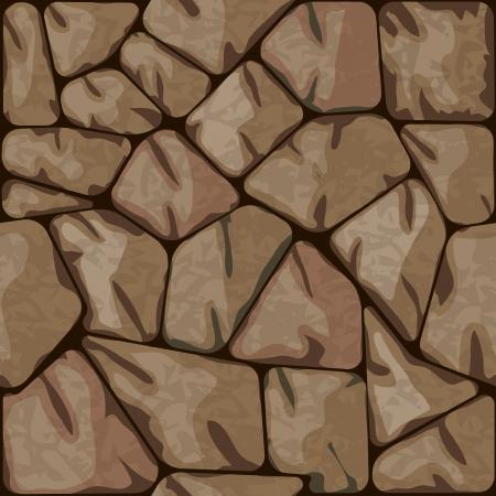 rubble: Ilustraci�n vectorial de piedra marr�n, seamless, patr�n Vectores
