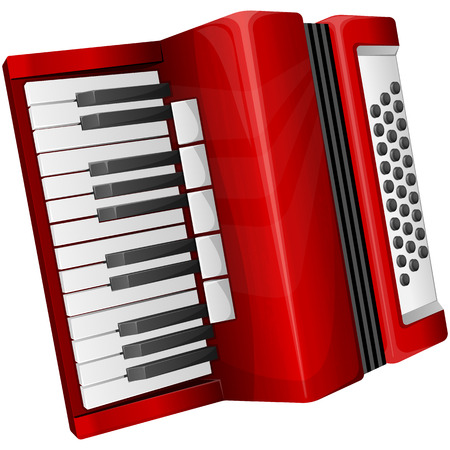 Vector illustration red accordion isolated on white Vector