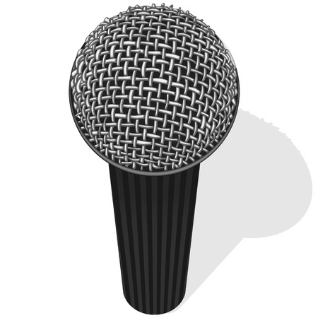 Vector illustration of black microphone on white Vector