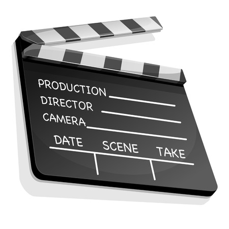 action movie: Vector illustration of clapperboard with an information field for shooting movies