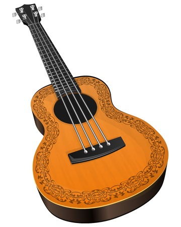 ukulele: Vector illustration ukulele with floral border on white background Illustration