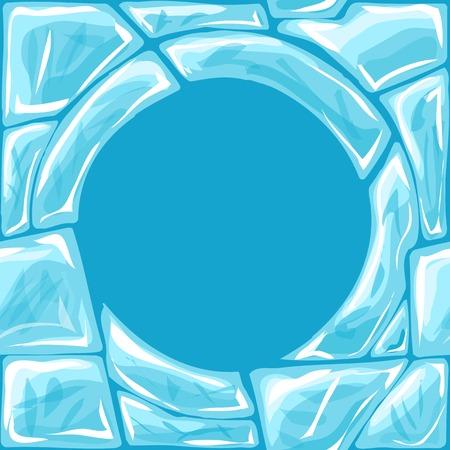 ice brick: Vector illustration of round frame ice brick seamless pattern Illustration
