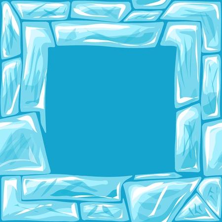 ice brick: Vector illustration of square frame ice brick seamless pattern