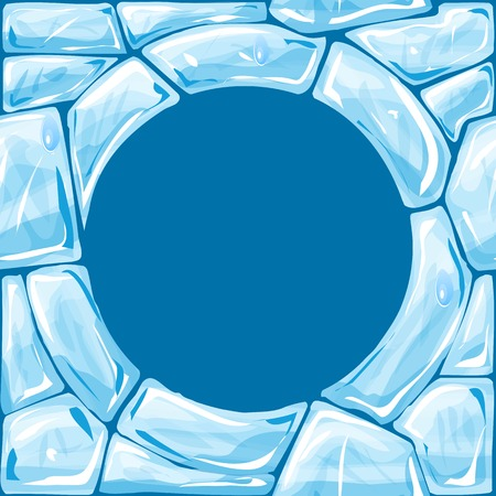 ice brick: Vector illustration of round frame ice brick seamless pattern Illustration