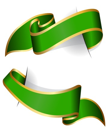 green ribbon: Green ribbon collection isolated on white background