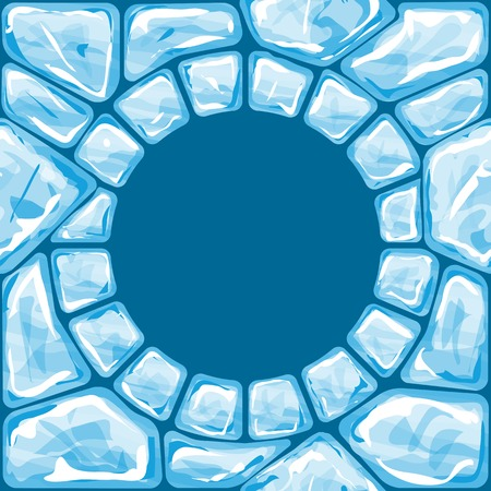 Vector illustration of round frame ice brick seamless pattern Vector