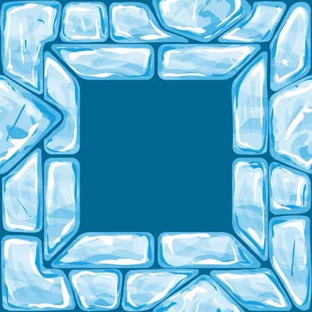 ice brick: Vector illustration of square frame ice brick seamless pattern
